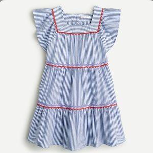 J crew girls ruffle sleeve stripe dress rickrack